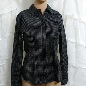 APT. 9 Fitted Polka Dot Button Down Shirt